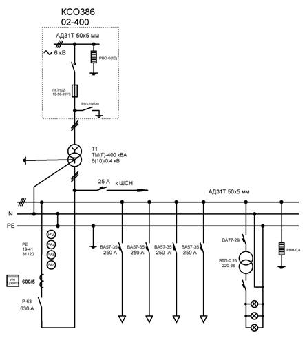 Ктпн 400 однолинейная схема